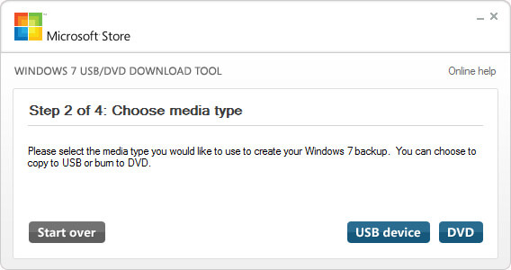 Choose media type usb or dvd
