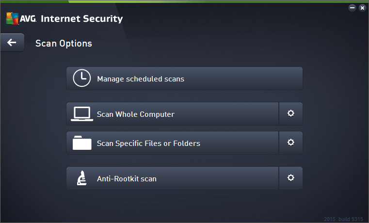 AVG Scan Options