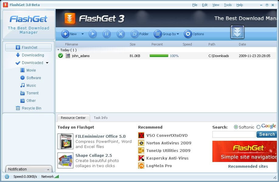 FlashGet Download Interface