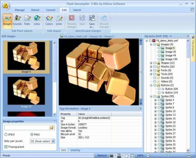 Trillix flash decompiler- SWF decompiler software