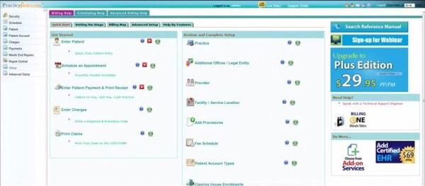 practicesuite free medical billing software dashboard