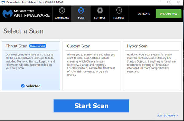 3 Scanning modes of MBAM
