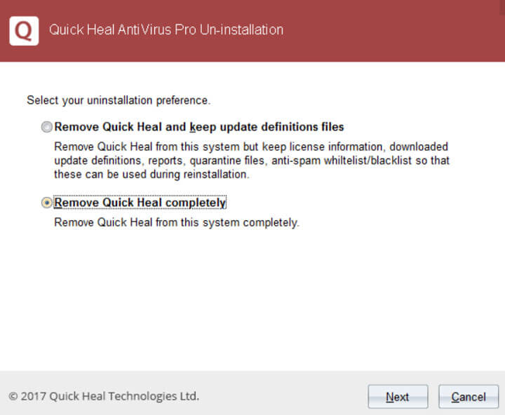 How to uninstall quick heal antivirus pro 2017