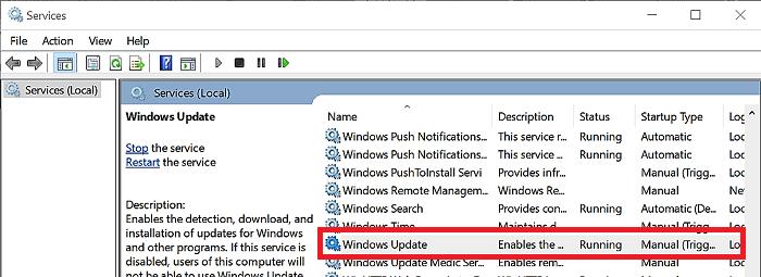 how to run windows update service