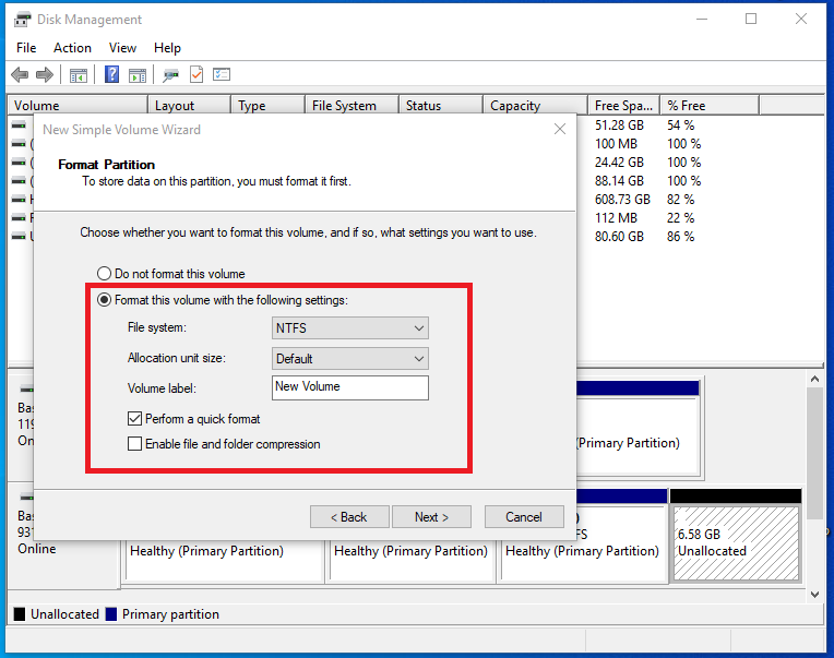 Format option for second internal hard disk partition