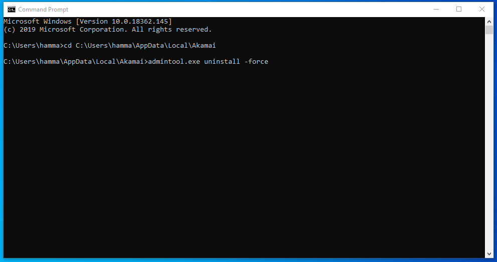 Command to uninstall Akamai Netsession Client