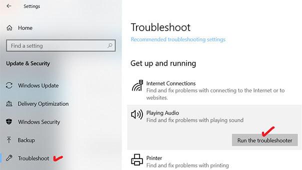 fix YouTube audio renderer error in Windows 10